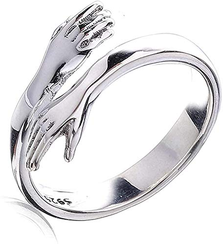 Hug Ring Hands, Hug Ring Sterling Silver, Love Hug Couple Ring Fashion Hug Ring Open Couple Ring Silver, Men And Women Couple Gifts, Birthday Christmas Gifts (male)