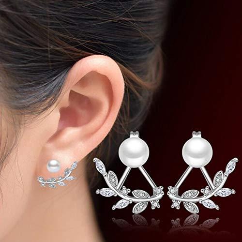 Pendientes perla pequeños mujer plata 925,aretes plata mujer, pendientes mujer plata pequeños con perla e incrustaciones de Zirconita Cubica brillantes y cierre de boton, caja para regalo incluida