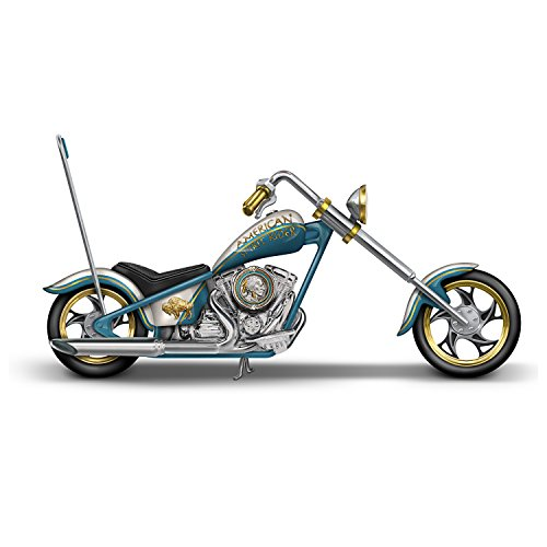 The Hamilton Collection Motorcycle Sculpture with Indian Head Nickel Artwork:by