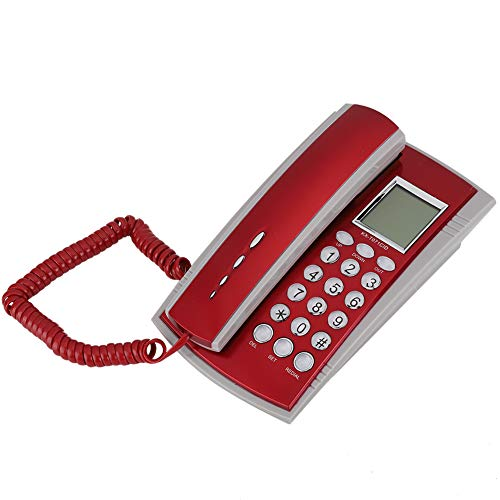Hakeeta Teléfono Fijo de Oficina Comercial, Diseño Ergonómico, Teléfono Comercial con Cable, Cancelación de Ruido, para el Hogar, Hotel, Negocios, Oficina(Rojo)