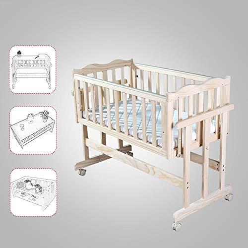 JYXZ Nachtkrippe Schlafen Kinderbett Reisebabybett Stubenwagen Verstellbare Beistellbetten, Babybett Massivholz Umweltschutz, A