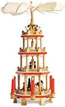 Lillian Vernon German Christmas Pyramid- 17 Inch Nativity Table Top Holiday Decor, 4 Tier Carousel with Candle Holders
