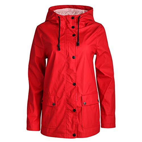 Urban Republic Women's Lightweight Vinyl Hooded Raincoat Jacket, Red, Small''