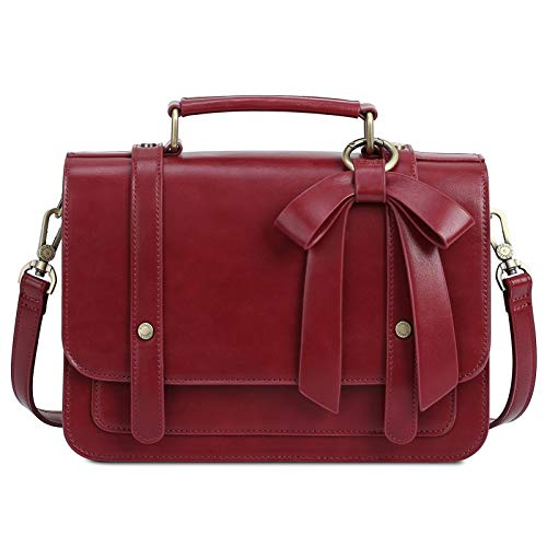 ECOSUSI Small Crossbody Bags Vintage Satchel Work Bag Vegan Leather Shoulder Bag with Detachable Bow, Red