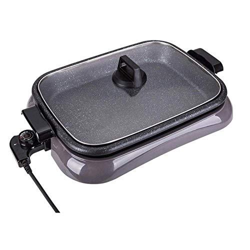 AOIWE Parrilla eléctrica portátil, Parrilla eléctrica Libre de Humo Pan eléctrica Pan eléctrica SHABU Hot Pot BBQ Freír emparejamiento Ajustes de Temperatura para Exteriores al Aire Libre 1600W