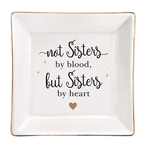 ElegantPark Sister Ceramic Ring Dish Sister Gifts from Sister Brother Friends Gifts for BFF Women Funny Friend Birthday Gifts Personalized Women Square Jewelry Holder Trinket Dish