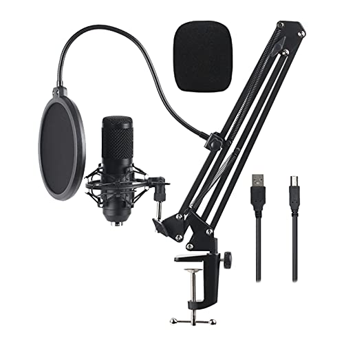 balikha Kit de Micrófono de Condensador USB con Kit de Filtro Antipolvo - Negro BM800