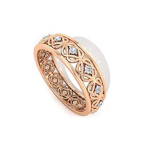 IGI - Anillo de boda con filigrana de diamante, grabado cuadrado, anillo de eternidad de oro, claridad de color IJ-SI, anillo de compromiso único, 14K Oro rosa, Size:EU 70