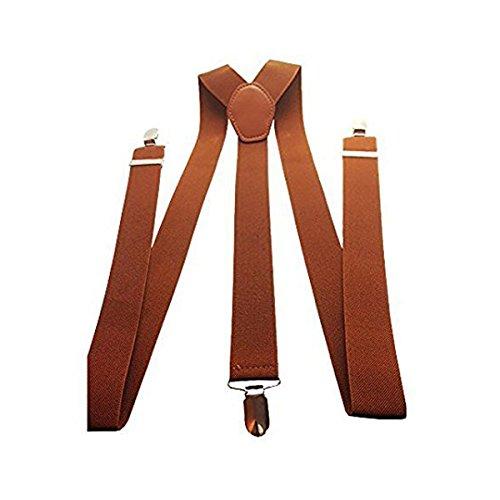 Trimming Shop 35mm Hommes Bretelles en Couleurs Classiques - Résistant à Clipser Bretelles - Entièrement Réglable et àÉlastique - Marron, 35mm
