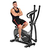 Neezee 4-IN-1 Elliptical cross trainer, 8 Resistance Levels Adjustable Seat Duty capacity 330lbs, with LCD Monitor and Pulse Heart Rate Sensor Perfect for the Home Gym