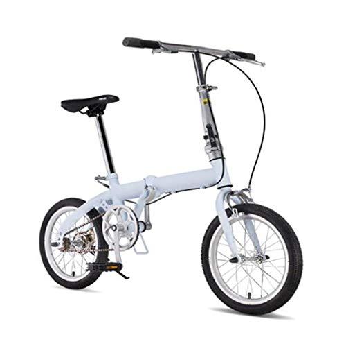 JI TA Bicicletta da Città Donna, Uomo Alluminio Bici Pieghevole Leggera 12 kg Unisex City Bike - Regolabile Manubrio E Sella Comoda,v-Brake,velocità Singola/Blue