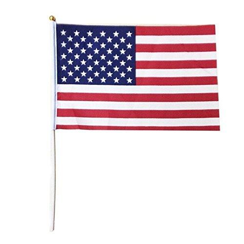 TRIXES 10 Stück US Stars and Stripes Fahnen mit Sticks rot weiß und blau für Sportveranstaltungen und andere Nationale Feierlichkeiten