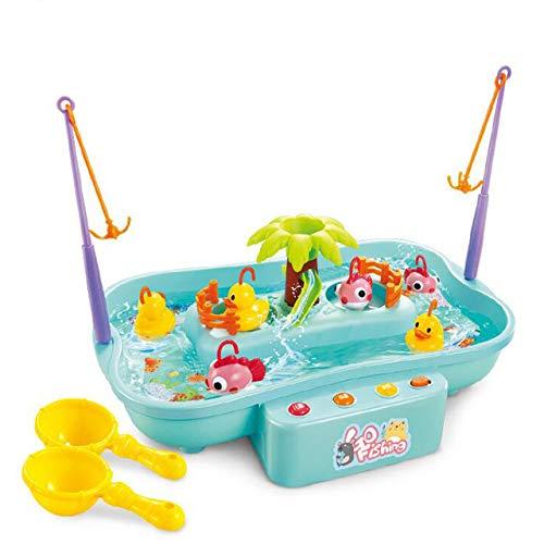 Toy Enfants Pêche Jouets, Cycle De l'eau Électrique, avec De La Musique D'éclairage Modèle Enfant, Pêche Jouer Jeux Jouets en Plein Air, Cadeaux Éducatifs,Bleu