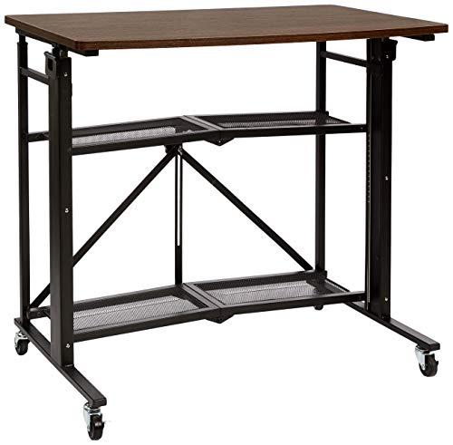 Amazon Basics Foldable Standing Computer Desk with Storage Shelf, Adjustable Height, Easy Assembly - Espresso