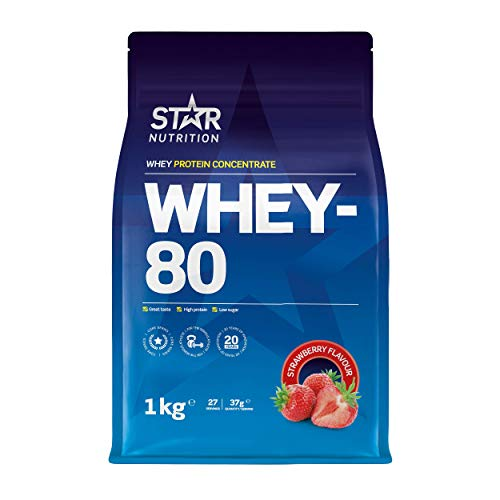 Star Nutrition | Whey 80 | Pure Concentrated Diet Whey Protein Powder with High Protein & Low Sugar | Protein Powders for Perfect Protein Shakes | Strawberry Flavor | 1Kg