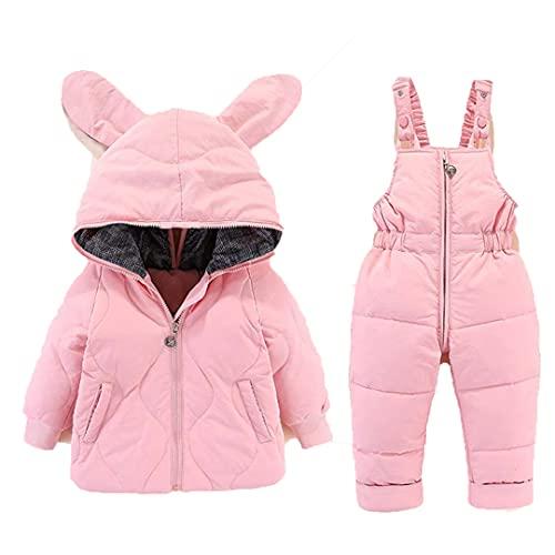 2 piezas conjunto de invierno traje de bebé a prueba de frío chaqueta de dibujos animados bebé niña traje de nieve abrigo caliente ropa de los niños 0-4Y rosa 3T
