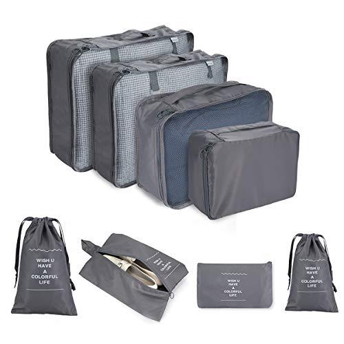 C100AE Set Organizador de Equipaje, 8 en 1 Organizadores de Viaje para Maletas, Cubos de Embalaje, Organizador de Maleta Bolsa para Ropa, con Bolsa de Zapatos, Bolsa de Cosméticos(Gris)
