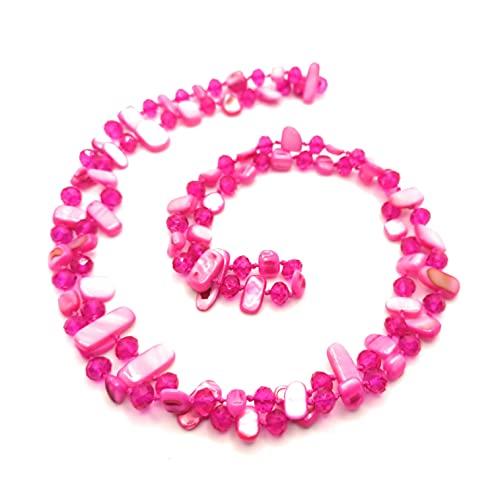 BRANDELIA Collares Largos de Colores Mujer Bisutería de Nácar y Perlas de Cristal, Fucsia