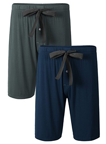 DAVID ARCHY Men's 2 Pack Soft Comfy Bamboo Rayon Sleep Shorts Lounge Wear Pajama Pants (L, Dark Gray/Navy Blue)