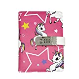 AIBEARTY Creative Unicorn Password Lock Journal Diary Digital Locking Diary Notepad Book Combination Journal Diary with Lock A5 Planner Cover, 100 Sheets/200 Pages