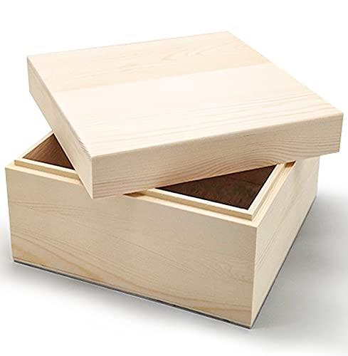 Fyrkantig förvaringsbox i furu med läpp för gör-det-själv harts gjutning hantverk omålad vanlig naturlig 12 x 12 x 7,9 cm