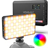 Luz de Vídeo RGB 120 LEDs, HOMEASY Luz de Cámara Regulables 2500-9000K con Batería Incorporada de 3100 mAh, CRI 95+, Luz para Cámaras Recargable Portátil para Fotografía Vlog Videos Youtube