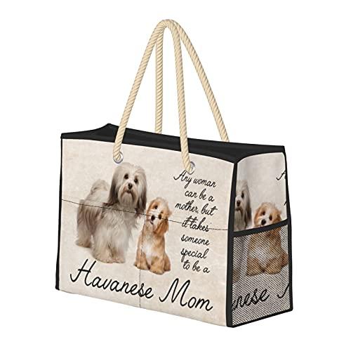 Grande borsa da spiaggia e borsa da viaggio per le donne – Tote Bag Pool Bag con manici, Weekender Bag & Borsa per la notte – Havanese Mom