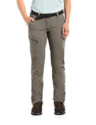 MAIER SPORTS Funktionshose Inara Slim für Damen aus 90% PA 10% EL in 23 Größen, Outdoorhose/ Wanderhose/ Slimfit Hose inkl. Gürtel, bi-elastisch, schnelltrocknend und wasserabweisend,braun,38