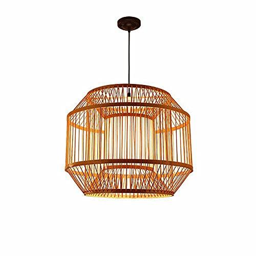 ZHANGL Personalidad Creativa Retro Araña de bambú E27 Tejido a Mano de Mimbre Luz Colgante Restaurante Balcón Techo Araña Tejida de bambú Iluminación Decorativa Ajustable