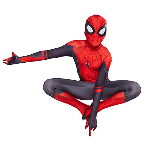 Vengadores Hombre Araña Mono Para Niños Unisex, Superhero Movie Disfraces Cosplay Aficionados, Peter Parker Cosplay Del Partido De Halloween Del Mono Zentai Bodies,Far From Home-Kids/XXL(140~150CM)
