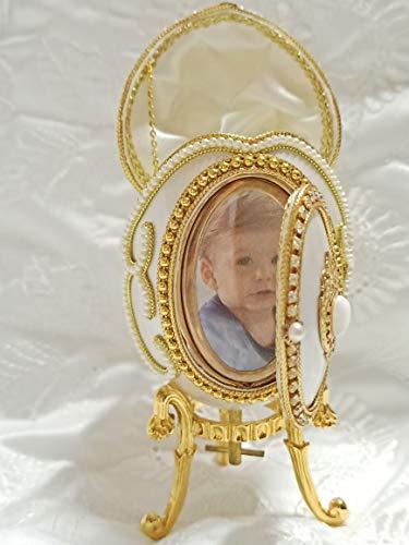 Regalo hecho a mano para nieto, para bautizo, bautizo, bautizo, personalizable, marco de fotos de regalo para dioses, hijos, dioses, dioses, hijas, música de tela, caja de joyería de huevo de 24 K oro