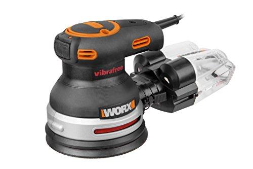 WORX WX655 Exzenter Schleifer Vibrafree 380W – Schleifgerät inkl. Cyclone Staubbehälter, Schleifpapier K60, Schleifpapier K120, Schleifpapier K180 & Werkzeugkoffer