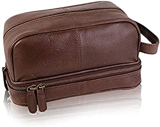Classic Top Grain Leather Toiletry Bag and Dopp Kit - Men's Travel and Shave Kit with LokSak Waterproof Bag (Buffalo Leather, Dark Brown)