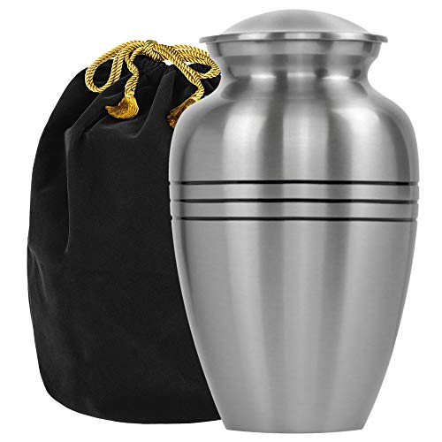 Grace and Mercy Pewter Large Urn for Human Ashes - A Beautiful and Humble Urn for Your Loved Ones Remains. This Lovely Simple Urn Will Bring You Comfort Each Time You See It - with Velvet Bag
