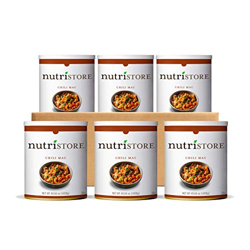 Nutristore Emergency Food Supply | Breakfast, Lunch, Dinner | Premium Meals | MRE | Survival | USA | 25 Year Shelf Life (6-Pack, Chili Mac)