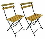 Mobel Designhaus French Café Bistro Folding Side Chair, Jet Black Frame, Clear Painted European Chestnut Wood Slats (Pack of 2)