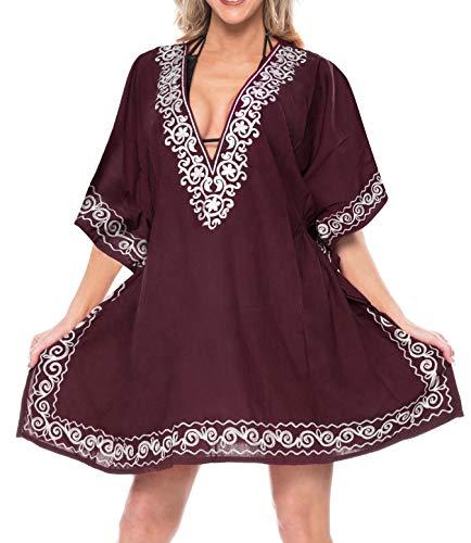 LA LEELA Traje de ba�o Traje de ba�o Ropa de Playa Bordado de Las Mujeres Ocasionales Kimono Cubre Violeta