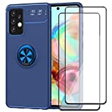 GDTOGRT for Galaxy A72 Case,with 2Pack Tempered Glass Screen Protector, Flexible Shockproof TPU Metal Magnetic Kickstand Slim Non-Slip Hybrid Protective Case Cover for Samsung Galaxy A72 5G -Blue