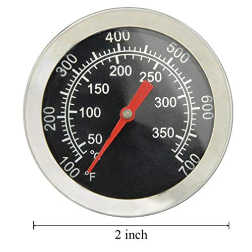 BBQ Grill Thermometer Temperature Gauge Heat Indicator Replacement for Charbroil, Chargriller, Jenn-Air, Perfect Flame, King Griller, Dyna-glo Gas Grills, 2 inch Dia. Stainless Steel BBQ Temp Gauge