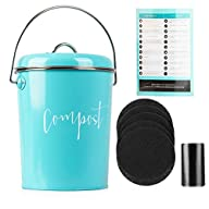 Compost Bin for Kitchen Counter: Stainless Steel Countertop Compost Container as 1.3 Gallon Indoor Compost Bucket or Counter Composter Pail with Lid, 50 Compost Bags and 6 Charcoal Filters, Turquoise Contents Layout