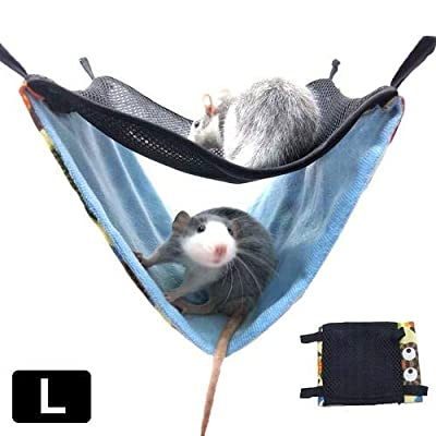 Chengstore Double Bunkbed Hammock for Small Pet Hamster Dutch Rat Parrot Warm Winter Hanging Bed Sleeping Bag from Chengstore
