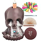 SOYO Incense Waterfall Burner Skull Backflow Ceramic Incense Holder, Incense Fountain with 120 Backflow Incense Cones & 30 Incense Stick, Aromatherapy Ornament