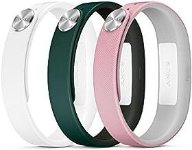 Sony Fashion - Pack de tres correas pequeñas para SmartBand, verde oscuro, rosa claro y blanco