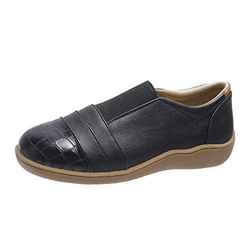 Mujeres Suela de Goma Zapatillas Cubrezapatos Planos de Mujer Zapatos Casuales de Suela Suave con Punta Redonda y Ligeros de Color Puro