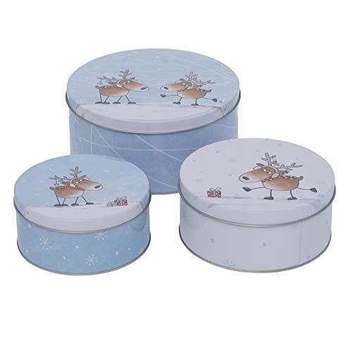 CasaJame 3er Set Metall Keksdose Plätzchendose blau weiß Elche Sortiert H6-9cm