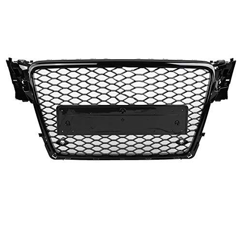 Gorgeri Parrilla de paragolpes delantero del automóvil, parrilla deportiva frontal de malla hexagonal con panal, negro brillante para A4/S4 B8 09-12 (para estilo RS4)