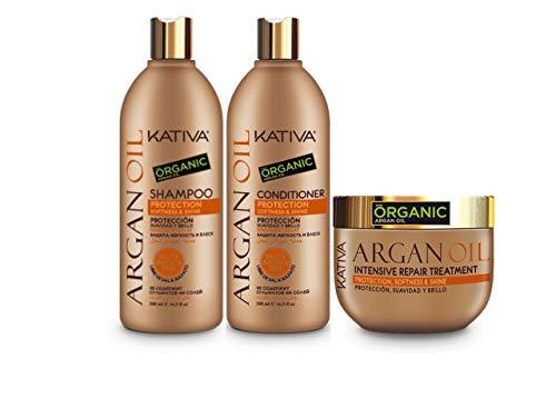 Kativa Argan Oil Protección Champú 500ml + Acondicionador 500ml + Mascarilla 250ml