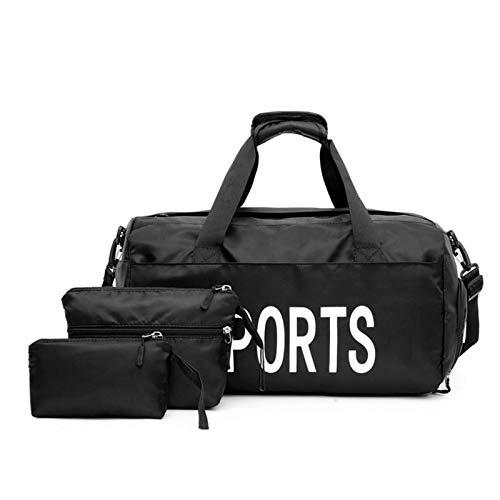 PQXOER Bolsa de gimnasio 3 piezas impermeable para el hombro separación húmeda y seca bolsa de fitness (tamaño: talla única; color: negro)