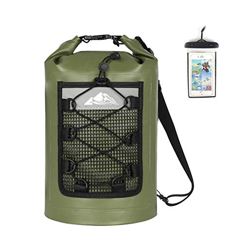 HEETA Waterproof Dry Bag for Women Men(Upgraded Version), 5L/ 10L/ 20L/ 30L Roll Top Lightweight Dry Storage Bag Backpack with Phone Case, Green 5L