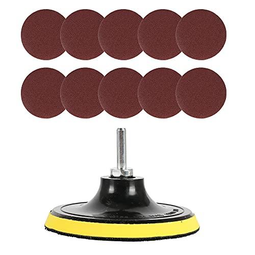 Pulluo 10 Piezas Lijas 125mm Velcro Papel de Lija Discos de Lija con Placa de Almohadilla de Pulido Abrasivo y Eje Grano 60 80 120 240 para Lijadora Pulido Eliminación de óxido